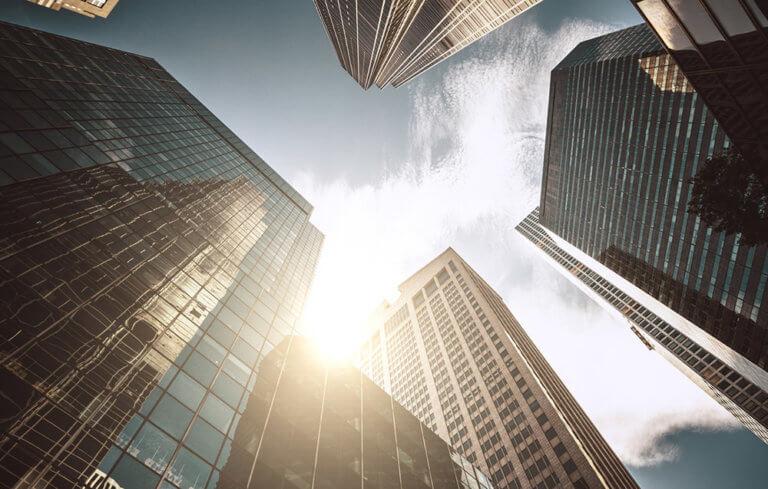 Sunny towering skyscrapers