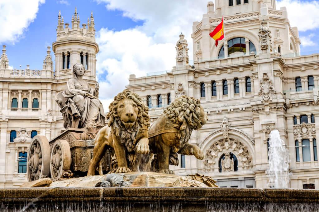 Cibeles fountain at Plaza de Cibeles in Madrid